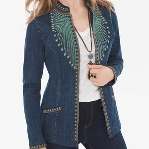 Chico's Heritage Beaded Denim Jacket Size 1 Blazer